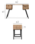 Industrial Style Design recycled wooden desk - Jason - Dimensions