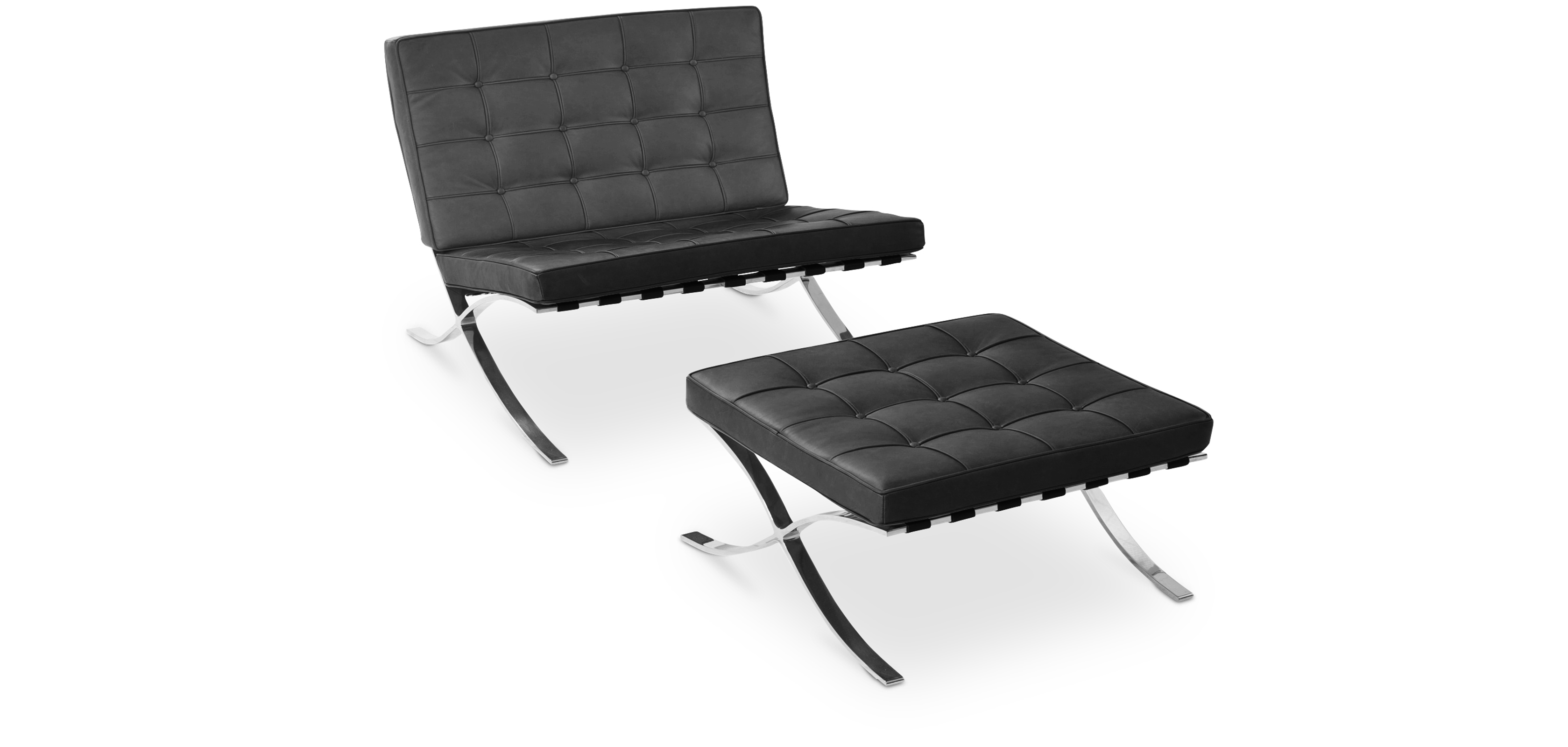 Barcelona Armchair With Matching Ottoman Ludwig Mies Van Der Rohe Faux  Leather