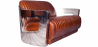 Buy Design Sofa Churchill Lounge 2 places Leather & Stainless Steel Vintage brown 48369 - prices