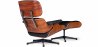 Buy Long Chair & Ottoman Premium Leather - Rosewood - Black legs Black 25338 home delivery