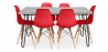 Buy Grey Hairpin 150x90 dining table + 6 Deswick chair Red 59919 home delivery