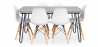 Buy Grey Hairpin 150x90 dining table + 6 Deswick chair White 59919 with a guarantee