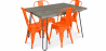 Buy Grey Hairpin 120x90 Dining Table + 4 Tolix Pauchard Style Chair Orange 59923 at Privatefloor