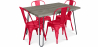 Buy Grey Hairpin 120x90 Dining Table + 4 Tolix Pauchard Style Chair Red 59923 home delivery