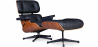 Buy Long Chair & Ottoman Premium Leather - Rosewood - Black legs Black 25338 - in the UK