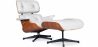 Buy Long Chair & Ottoman Premium Leather - Rosewood - Black legs White 25338 - prices