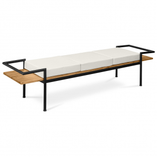 Buy Scandinavian style bench with cushions - Wood and metal Cream 59298 at Privatefloor