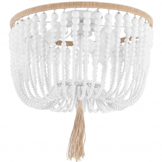 Buy Wood Beaded Ceiling Lamp White 59828 in the United Kingdom
