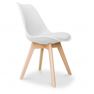 Buy Deswick Scandinavian design Premium Chair with cushion  White 58293 at Privatefloor