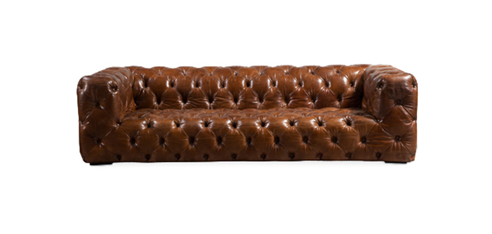 Quilted Vintage Style Leather Sofa