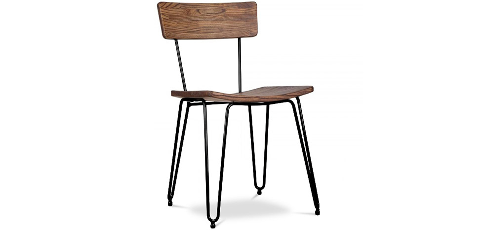 Buy Industrial style hairpin chair - Wood and metal Black 59297 - in the UK