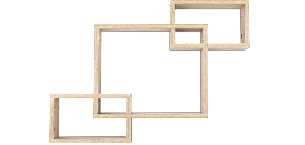 Buy Scandinavian style wall shelf 3 boxes - Wood Natural wood 59645 - in the UK