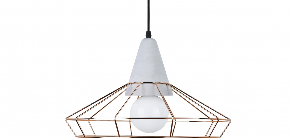 Buy Giotto hanging lamp - Metal and concrete Gold 59590 - in the UK