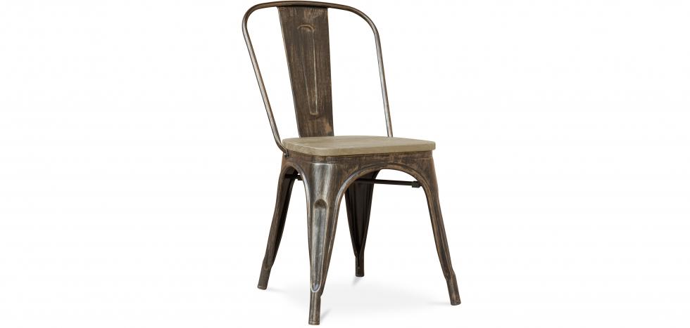 Buy Style Tolix Chair - Metal and Light Wood Metallic bronze 59707 - in the UK