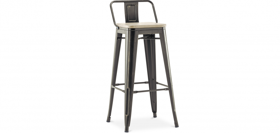 Buy Style Tolix bar stool with small backrest - 76 cm - Metal and Light Wood Metallic bronze 59694 - in the UK