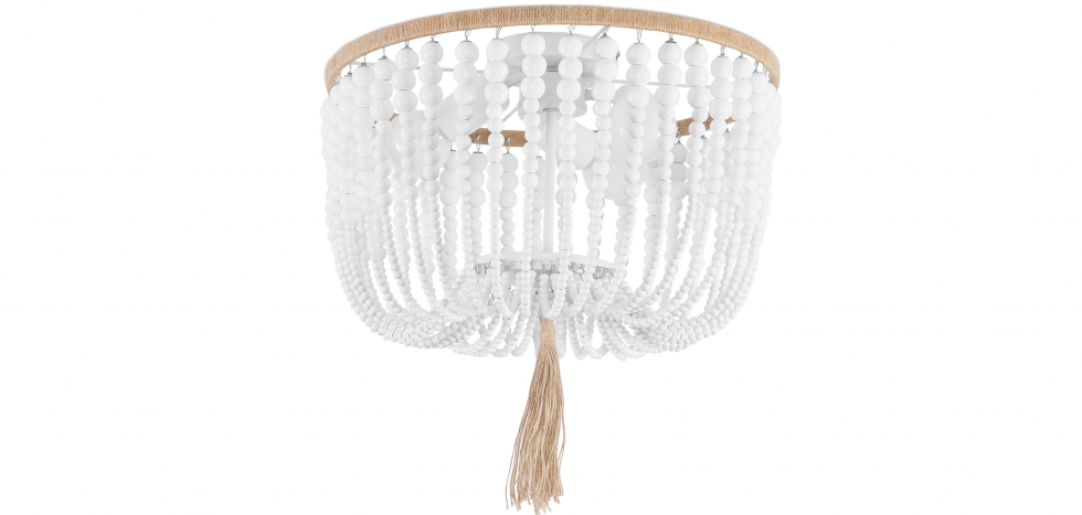 Buy Wood Beaded Ceiling Lamp White 59828 - in the UK