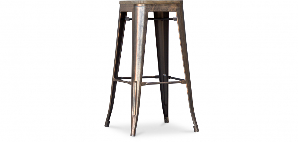 Buy Wooden Tolix Stool 76cm Pauchard Style - Metal Metallic bronze 99954406 - in the UK