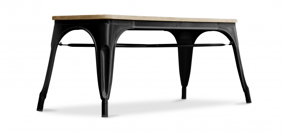 Buy Style Tolix Bench - Light Wood Black 59873 - in the UK