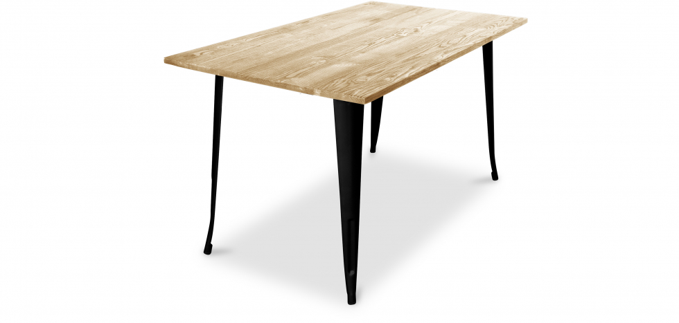 Buy Tolix Style Dining Table - 140 cm - Light Wood Black 59876 - in the UK