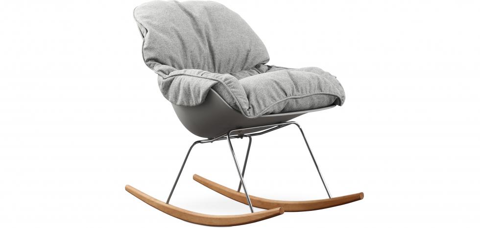 Buy Scandinavian Design Padded Rocking Armchair Grey 59895 - in the UK