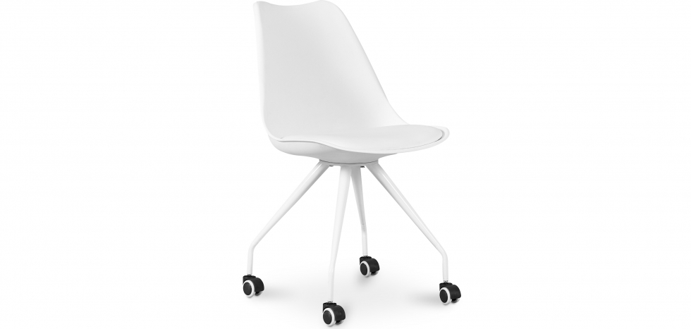 Buy Scandinavian Office chair with Wheels - Canva White 59904 - in the UK