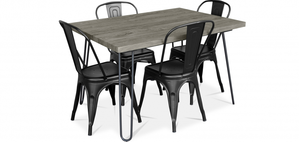 Buy Grey Hairpin 120x90 Dining Table + 4 Tolix Pauchard Style Chair Black 59923 - in the UK