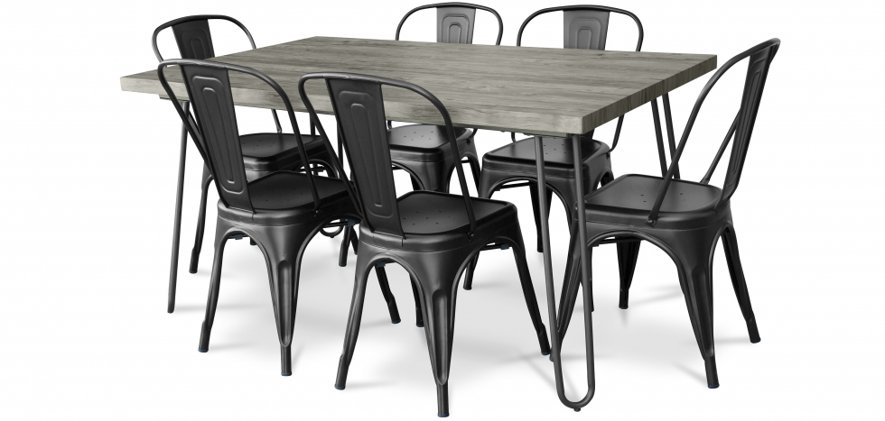 Buy Grey Hairpin 150x90 Dining Table + 6 Tolix Pauchard Style Chair Black 59924 - in the UK