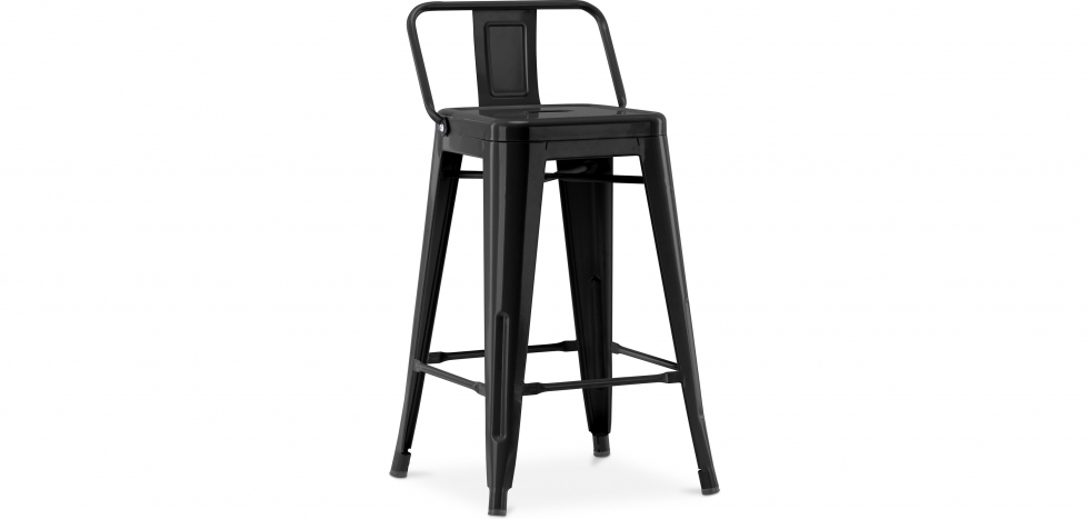 Buy Tolix stool with small backrest Pauchard Style - 60cm Black 58409 - in the UK