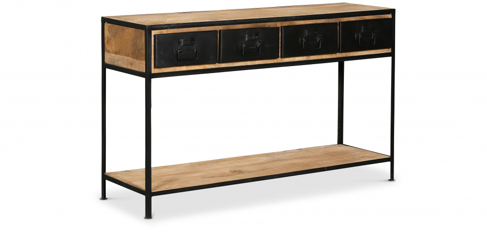 Buy Vintage Industrial Console with Drawers - Wood Black 27781 - in the UK