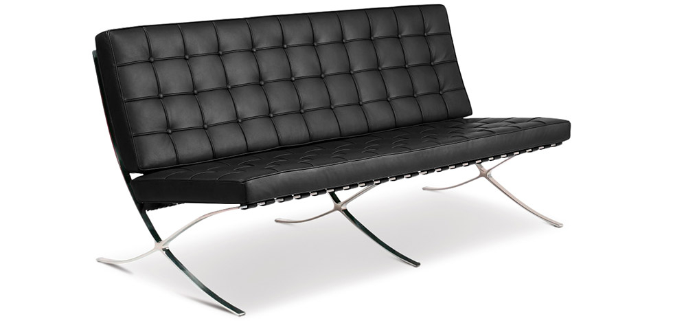 Buy Barcelona Sofa - Ludwig style Mies Van Der Rohe (3 seats) - Premium Leather Black 13266 - in the UK