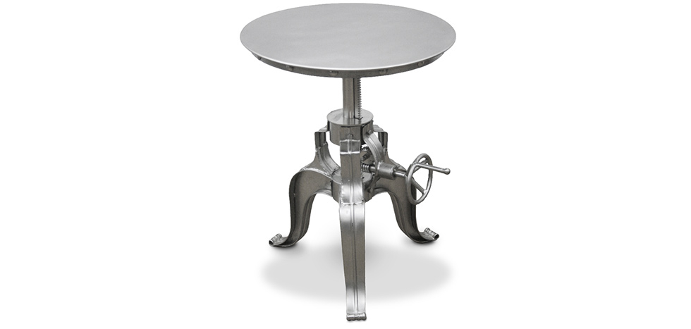 Buy Vintage industrial silver side table metal Silver 51324 - in the UK