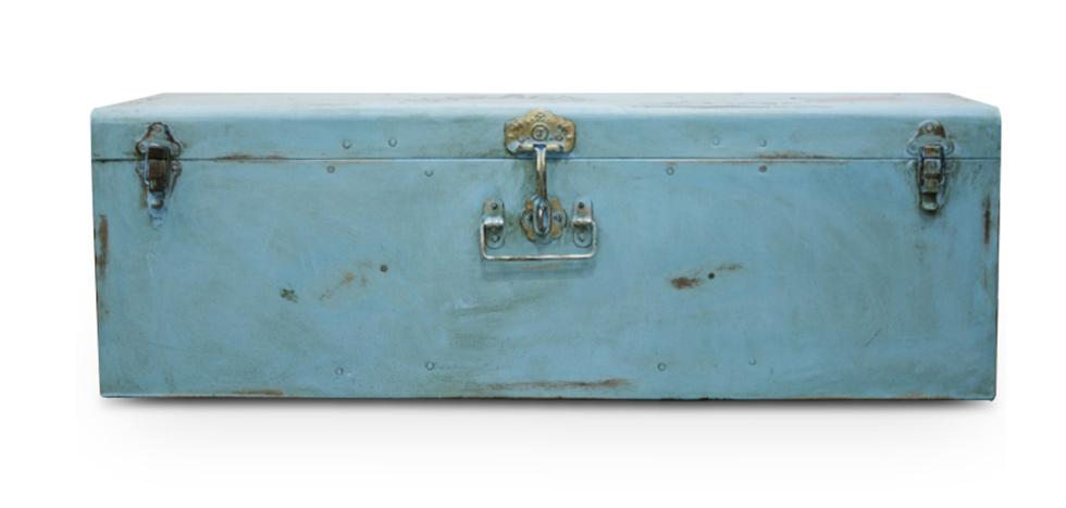 Buy Industrial vintage design locking trunk Blue 58326 - in the UK