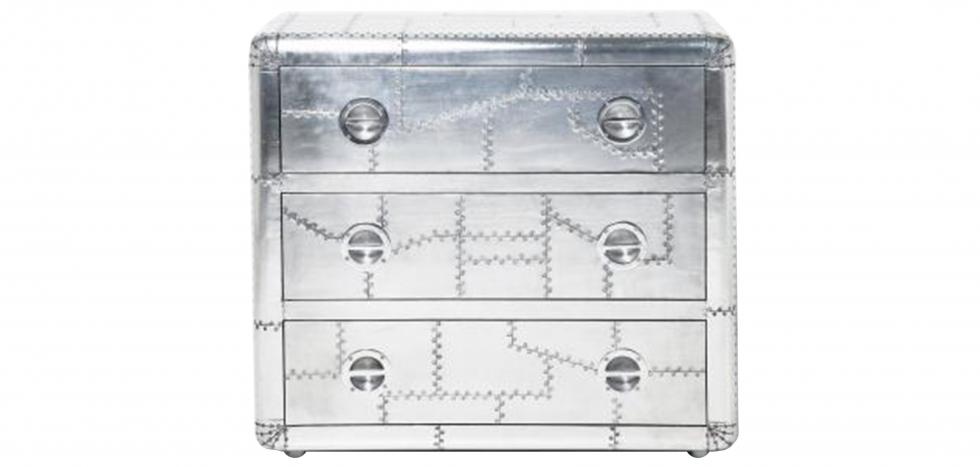 Buy Design chest of drawers Aviator aluminium Silver 26725 - in the UK