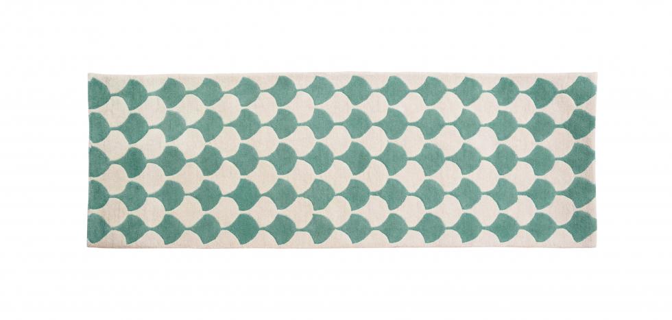 Buy Vintage long carpet Ivory / Green 58450 - in the UK
