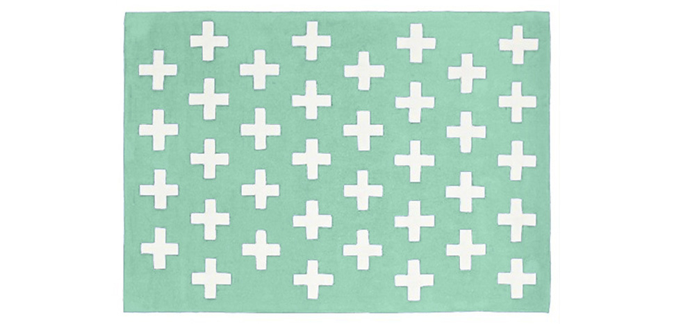 Buy Crosses scandinavian carpet Green 58455 - in the UK