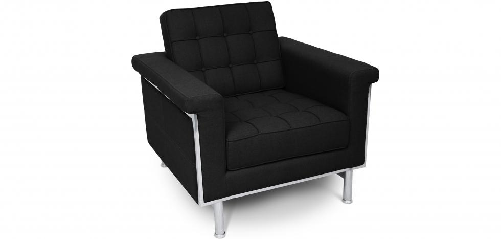 Buy Armchair - Ludwig Mies van der Rohe style - Fabric Black 13179 - in the UK