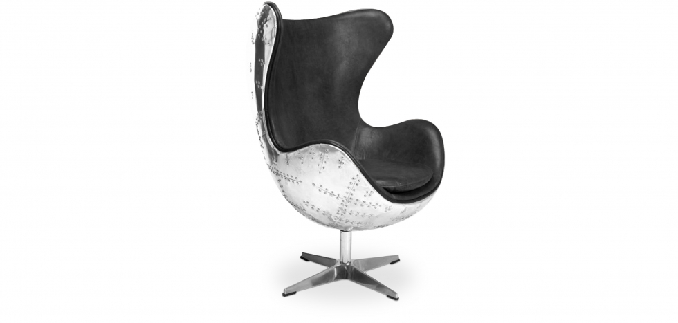 Buy Egg chair Aviator armchair premium leather Black 25628 - in the UK