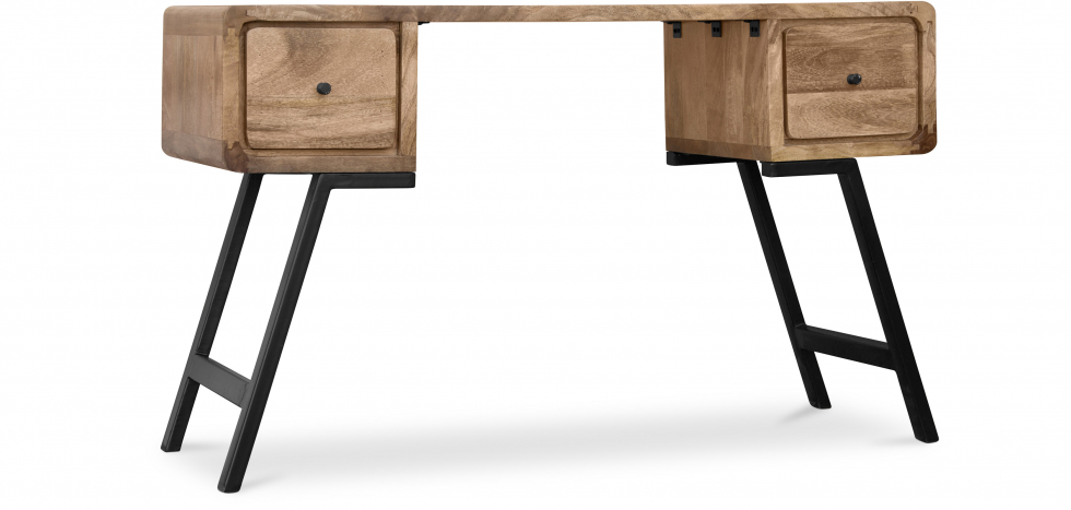 Industrial Style Design recycled wooden desk - Jason - Angled View