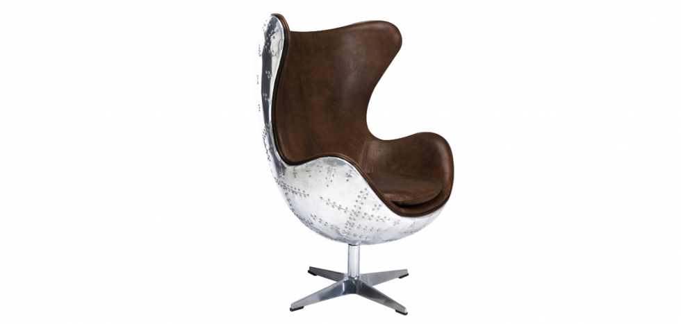 Buy Cocoon Chair Aviator Armchair - Microfiber Aged Leather Effect Brown 25627 - in the UK