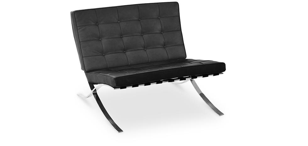 Buy Barcelona Armchair Ludwig Mies van der Rohe Style - Faux Leather Black 58262 - in the UK