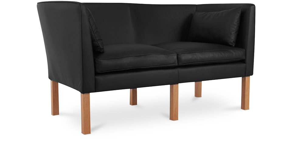 Buy Scandinavian design Sofa 2214 (2 seats) - Børge Mogensen style - Premium Leather Black 13919 - in the UK