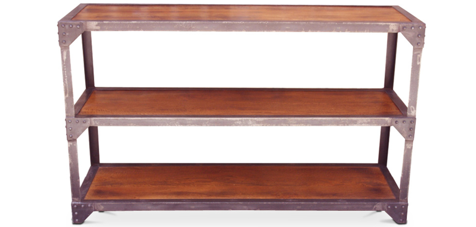 Buy Industrial 3 shelf bookcase Natural wood 58345 - in the UK