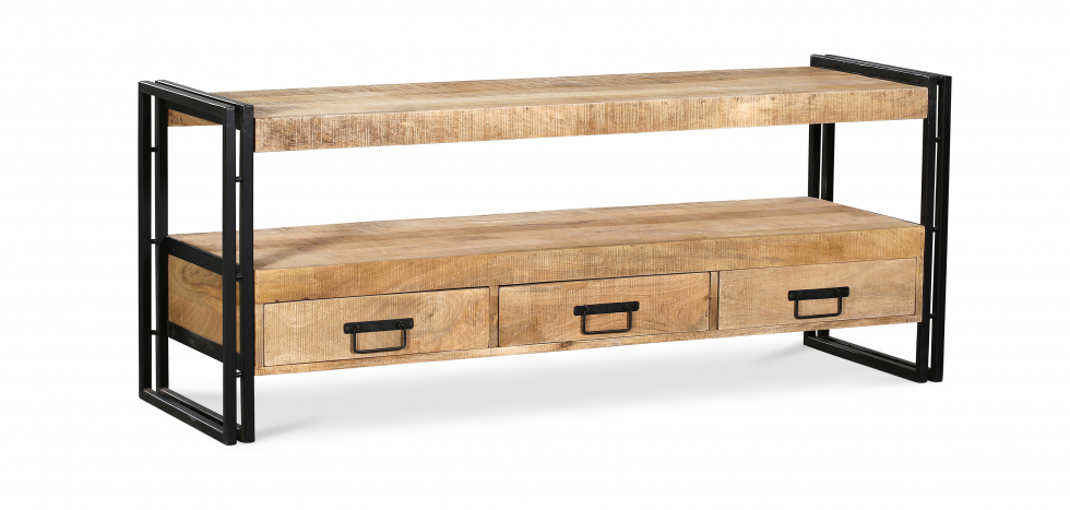 Buy Onawa vintage industrial style TV plasma Stand Natural wood 58471 - in the UK