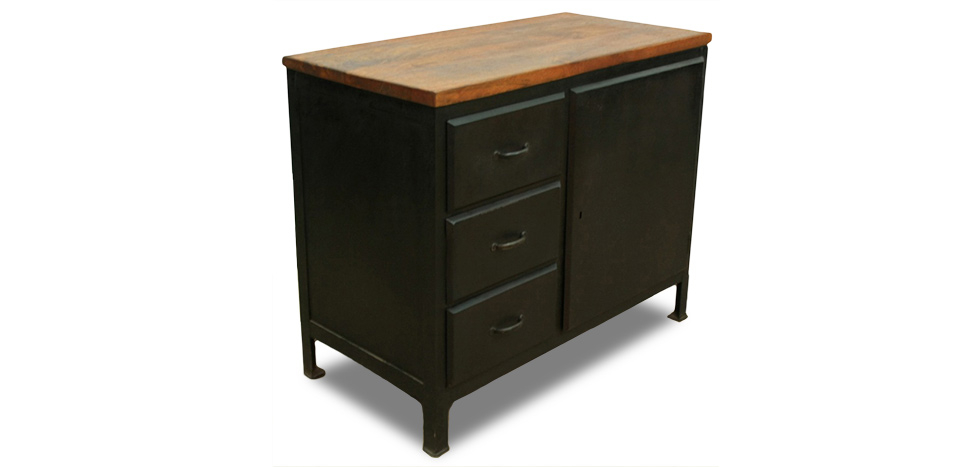 Buy Grange & Co. Retro Style 3 Drawers Sideboard  - Steel Natural wood 51342 - in the UK