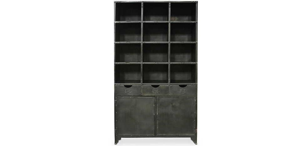 Buy Industrial Vintage Design Kitchen cupboard with shelf Black 58363 - in the UK