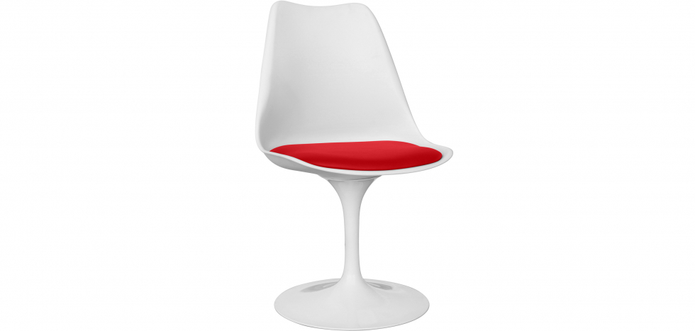 Buy White Tulip chair with cushion Red 59156 - in the UK