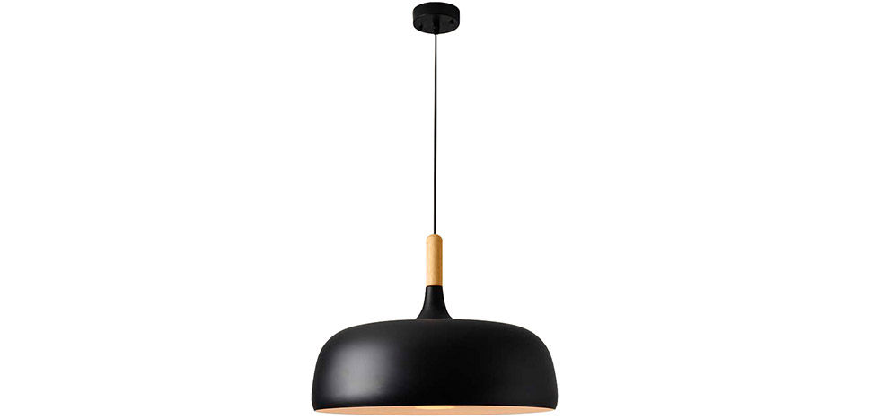 Buy Ceiling lamp in black metal and wood Black 59163 - in the UK