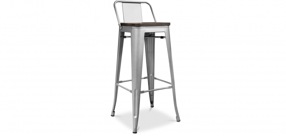 Buy Tolix stool Wooden and small backrest Pauchard Style - 76 cm Steel 59118 - in the UK