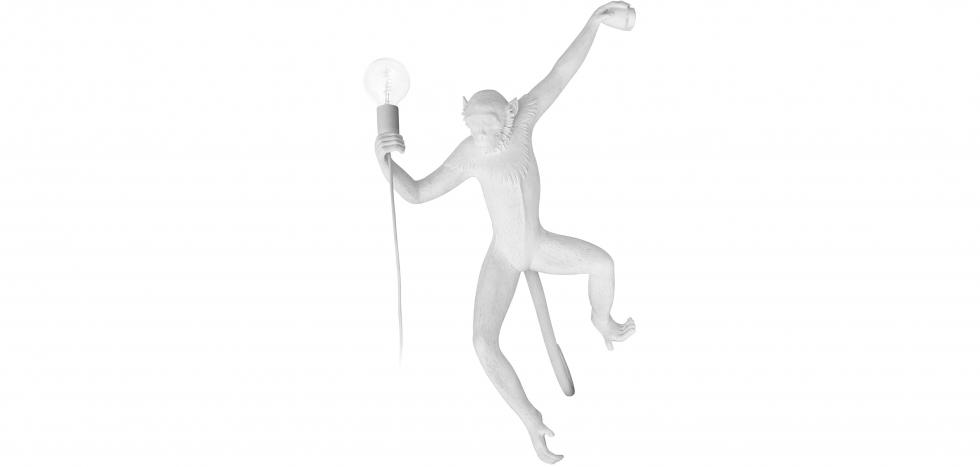 Buy Hanging Monkey design wall lamp - Resin White 59223 - in the UK