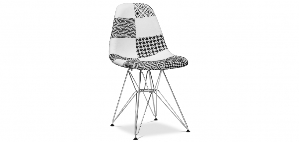 Buy Derwick Chair White and black - Patchwork Sam White / Black 59243 - in the UK